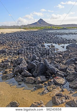 Volcanic Peak On A Remote Island Shore