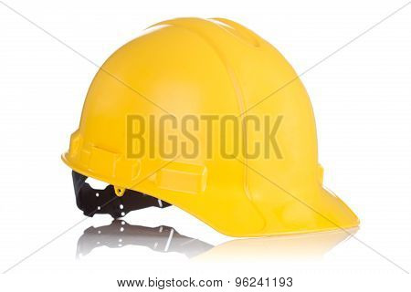 Yellow Safety Helmet Isolated On White