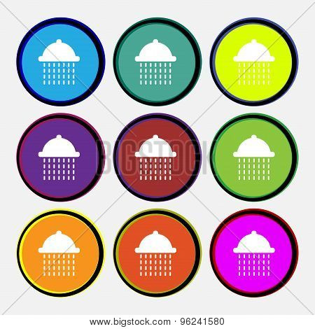 Shower Icon Sign. Nine Multi Colored Round Buttons. Vector