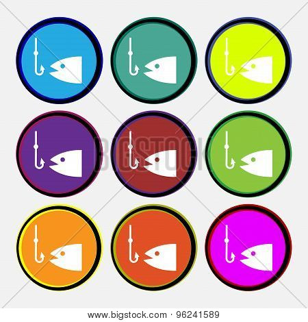 Fishing Icon Sign. Nine Multi Colored Round Buttons. Vector
