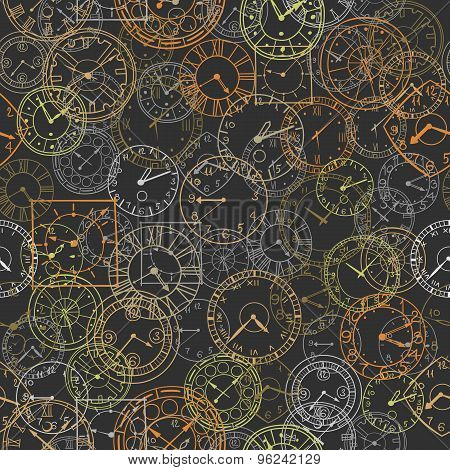 Vector Doodle Clock, Seamless Background