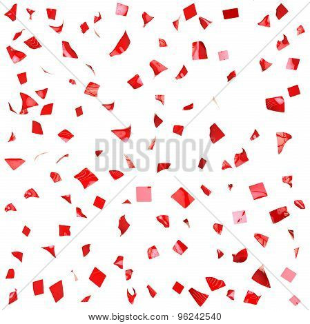 Background Of Red Shiny Pieces Of Paper