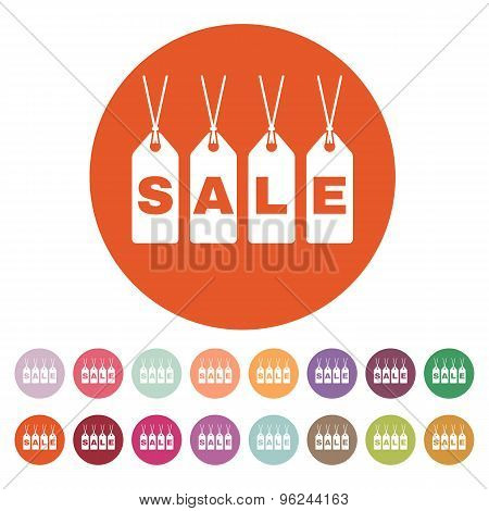 The label with an inscription sale icon. Discount symbol. Flat