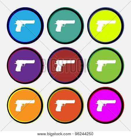 Gun Icon Sign. Nine Multi Colored Round Buttons. Vector