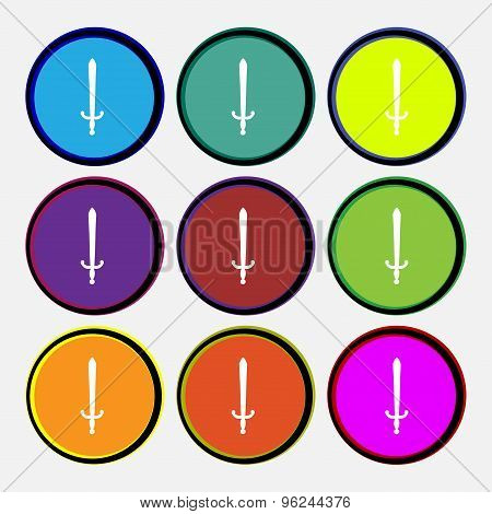 The Sword Icon Sign. Nine Multi Colored Round Buttons. Vector