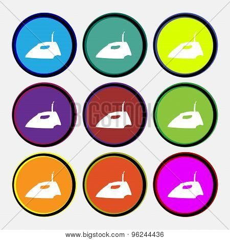 Iron Icon Sign. Nine Multi Colored Round Buttons. Vector