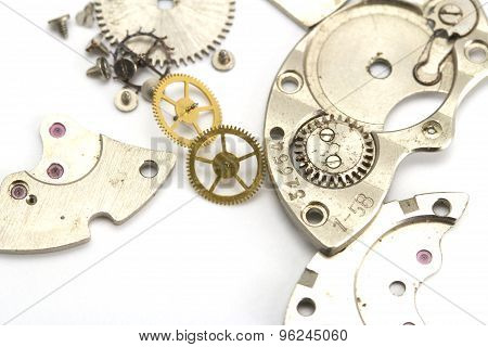 Clockwork Details On A White Background