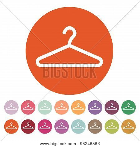 The hanger icon. Coat rack symbol. Flat