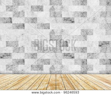 Backdrop  marble wall and wood slabs arranged in perspective texture background.