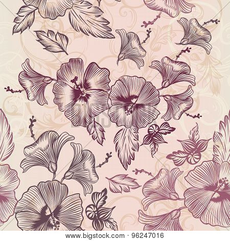 Vector Pattern With Hibiscus Flowers