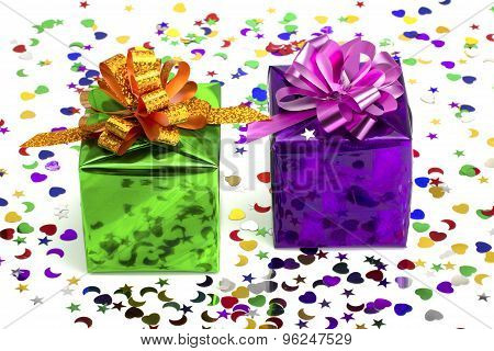 Violet And Green Gift On A Celebratory Background