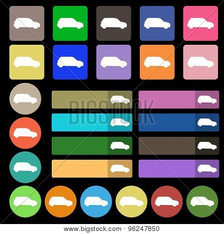 Jeep Icon Sign. Set From Twenty Seven Multicolored Flat Buttons. Vector