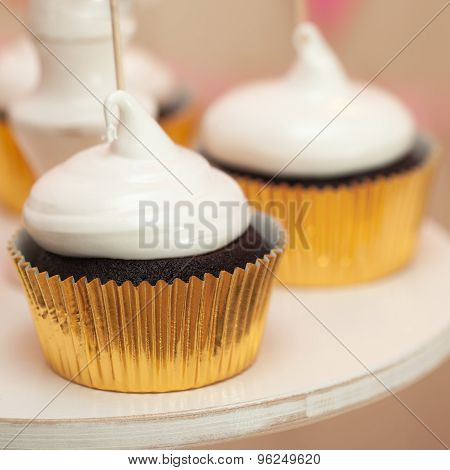 holiday buffet with cupcakes
