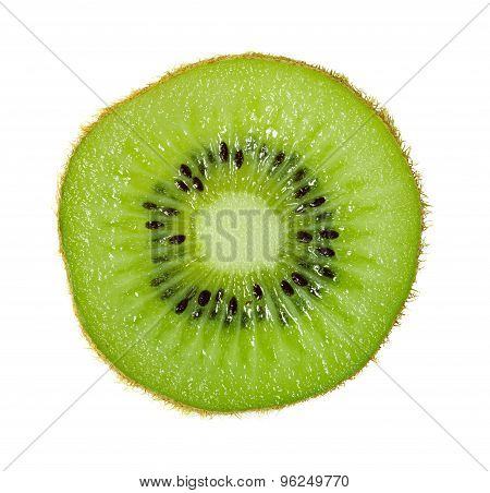 Slice Of Ripe Kiwi In Macro Scale