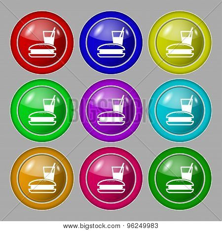 Lunch Box Icon Sign. Symbol On Nine Round Colourful Buttons. Vector