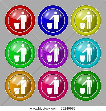 Throw Away The Trash Icon Sign. Symbol On Nine Round Colourful Buttons. Vector