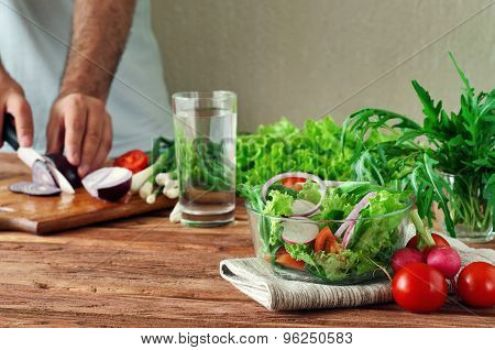 Fresh Salad Of Summer Vegetables In A Deep Bowl Of Glass