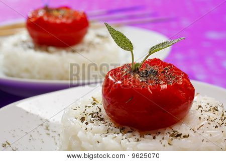 Fried Tomatoes On Rice