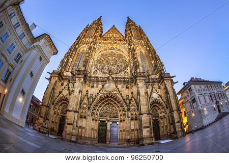 Fisheye front view of main entrance to the St. Vitus cathedral in Prague Castle, Czech Republic