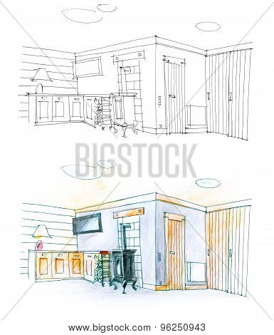 Drawing Of A Hall With Pencil In Black And White And In Color