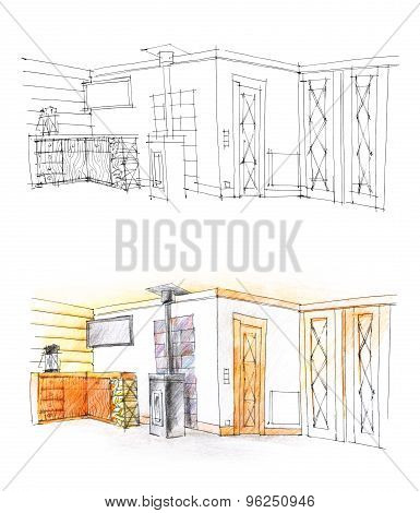 Hall Sketch With Pencil In Black And White And In Color