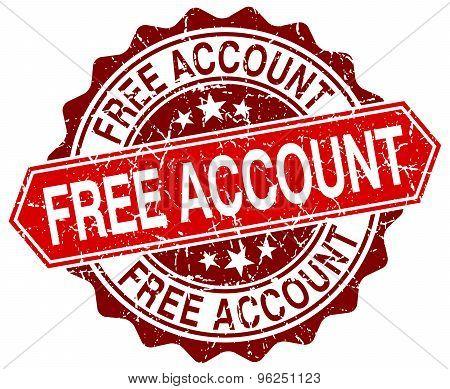 Free Account Red Round Grunge Stamp On White