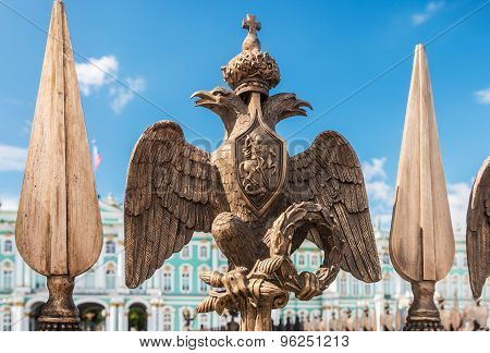 Double-headed Eagle In The Imperial Crown On The Fence Of The Alexander Column