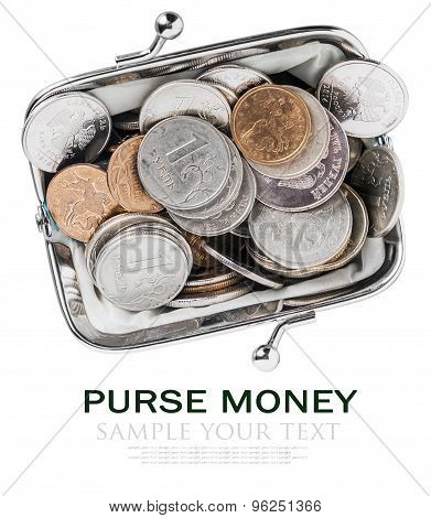Purse Filled With Metal Rubles Isolated On A White Background
