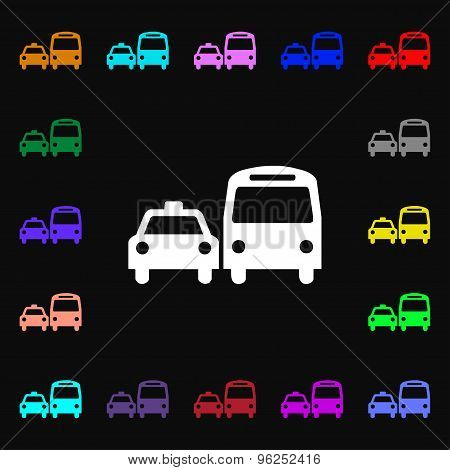 Taxi Iconi Sign. Lots Of Colorful Symbols For Your Design. Vector