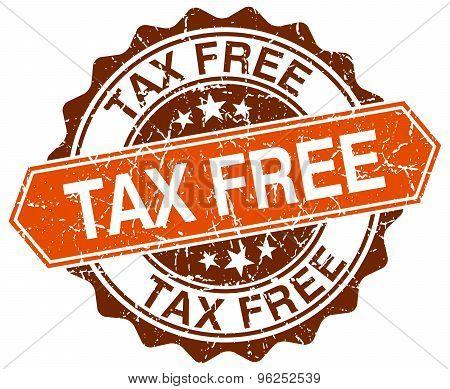 Tax Free Orange Round Grunge Stamp On White