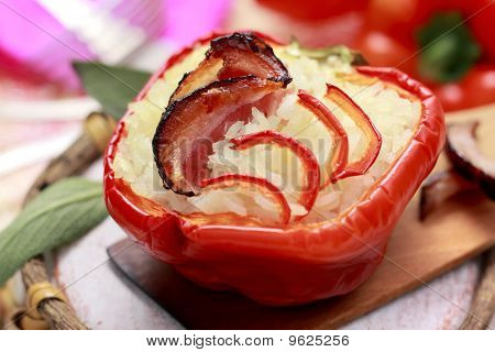 Red Pepper With Bacon And Rice Stuffing