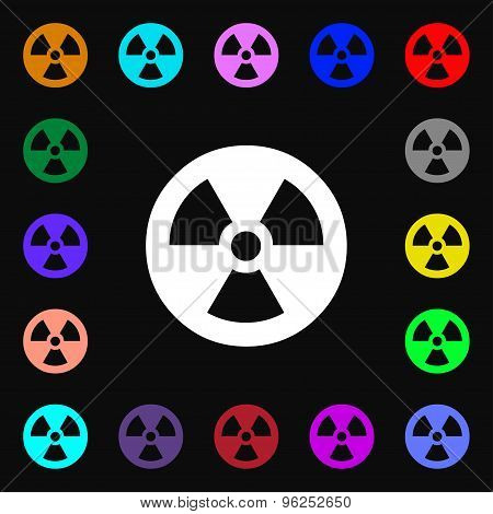 Radiation Iconi Sign. Lots Of Colorful Symbols For Your Design. Vector