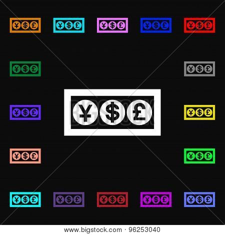 Cash Currency Iconi Sign. Lots Of Colorful Symbols For Your Design. Vector