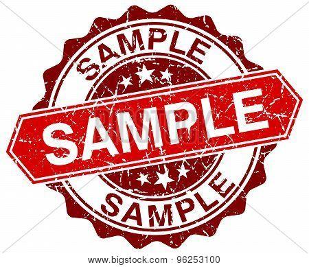 Sample Red Round Grunge Stamp On White