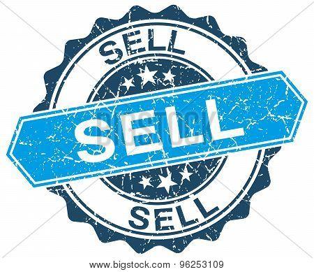 Sell Blue Round Grunge Stamp On White