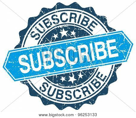 Subscribe Blue Round Grunge Stamp On White