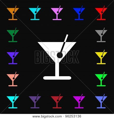 Cocktail Iconi Sign. Lots Of Colorful Symbols For Your Design. Vector
