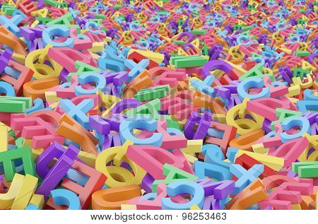 A Mess From 3D Colourful Alphabetic Characters.