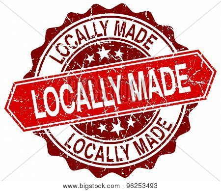 Locally Made Red Round Grunge Stamp On White
