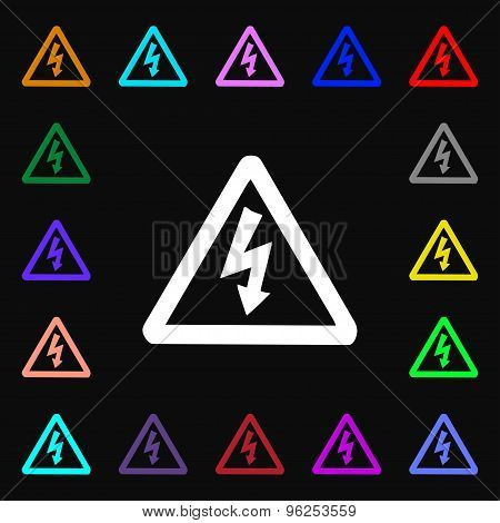 Voltage Iconi Sign. Lots Of Colorful Symbols For Your Design. Vector