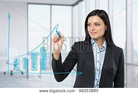 Beautiful Woman Drawing On A Glass Board A Growing Bar Chart. Panoramic Corner Office On Background.