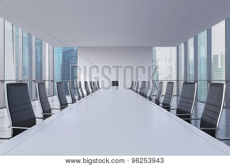 Panoramic Conference Room In Modern Office, Singapore View. Black Leather Chairs And A White Table.