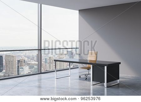 A Workplace In A Modern Panoramic Office, New York City View From The Windows. A Concept Of Financia