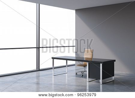 A Workplace In A Modern Panoramic Office, Copy Space View From The Windows. A Concept Of Financial C