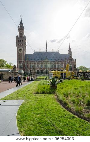 The Hague, Netherlands - May 8, 2015: Reporters At The Peace Palace In The Hague, Netherlands.