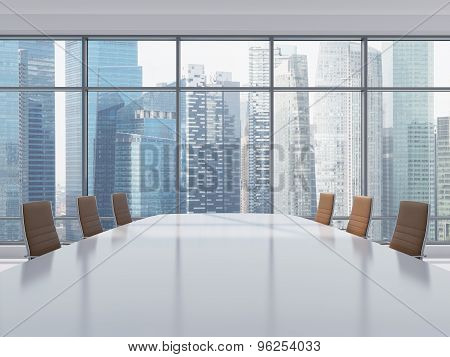 Panoramic Conference Room In Modern Office In Singapore. Brown Leather Chairs And A Table. 3D Render