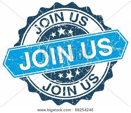 Join Us Blue Round Grunge Stamp On White
