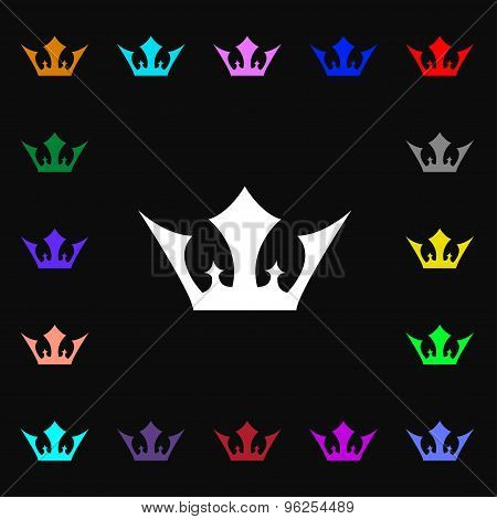Crown Iconi Sign. Lots Of Colorful Symbols For Your Design. Vector