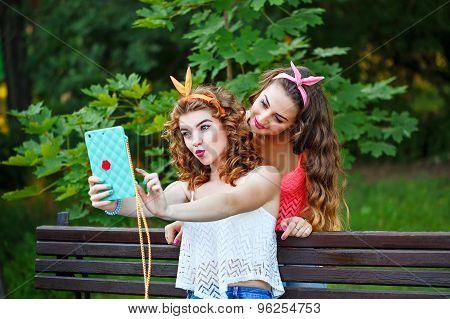 Best Friends In Park. Group Selfies.