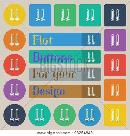 Thermometer Temperature Icon Sign. Set Of Twenty Colored Flat, Round, Square And Rectangular Buttons